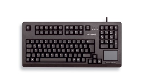チェリー G80-11900LUMEU-2 Compact Qwerty Keyboard with USB Interface and Touchboard, 16