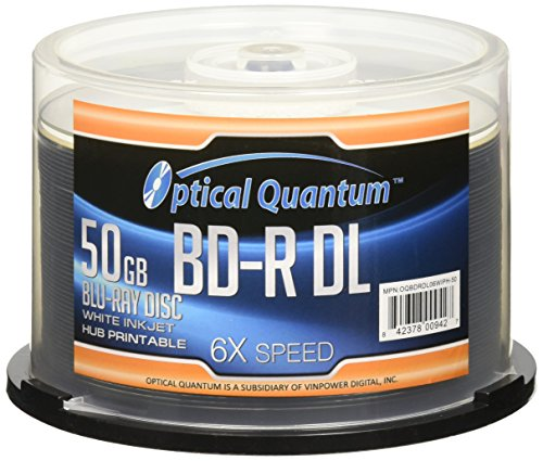 Optical Quantum 6X 50GB BD-R DL ホワイト Inkjet Printable Blu-ray Double レイヤー Recordable メディア , 50-ディスク Spindle (海外取寄せ品)
