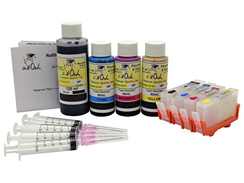 InkOwl - Refillable Cartridge セット for HP 564, 564XL (4 color) + 120mL ブラック, 60mL シアン, magenta, イエロー USA-メイド Fade Resistant ink + syringes (海外取寄せ品)