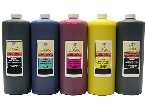 InkOwl - 5x1L バルク Pigment Ink for use in EPSON Stylus プロ 4900, 7700, 7890, 7900, 9700, 9890, 9900 printers - メイド in the USA (海外取寄せ品)