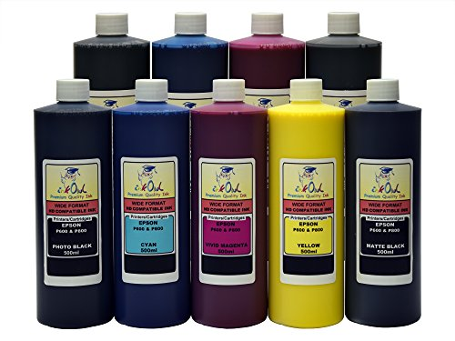 InkOwl - 9x500ml バルク Pigment Ink for EPSON SureColor P600 - メイド in the USA (海外取寄せ品)