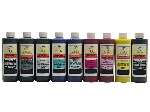 InkOwl - 9x250ml バルク Pigment Ink for use in EPSON Stylus プロ 3880, 4880, 7880, 9880 (includes マット Black) - メイド in the USA (海外取寄せ品)