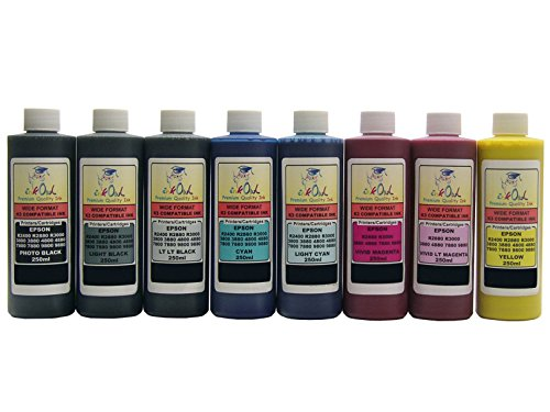 InkOwl - 8x250ml バルク Pigment Ink for use in EPSON Stylus プロ 4880, 7880, 9880 - メイド in the USA (海外取寄せ品)