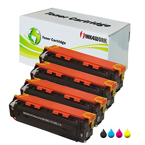 4 パック INK4WORK Compatible Toner Cartridge リプレイスメント For Canon 131 (Black, シアン, Magenta, Yellow) For ImageClass LBP7110cw MF624cw MF628cw MF8280cw Printers (海外取寄せ品)