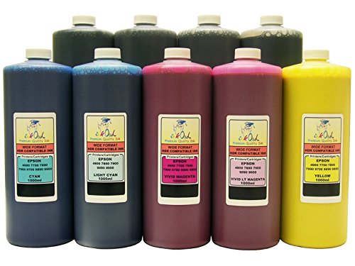 InkOwl - 9x1L バルク Pigment Ink for use in EPSON Stylus プロ 4900, 7890, 7900, 9890, 9900 printers - メイド in the USA (海外取寄せ品)