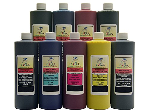 InkOwl - 9x500ml バルク Pigment Ink for use in EPSON Stylus プロ 3800, 4800, 7800, 9800 (includes マット Black) - メイド in the USA (海外取寄せ品)