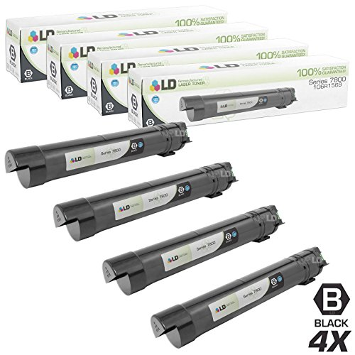 LD c Compatible Xerox 106R01569 / 106R1569 セット of 4 ハイ Yield ブラック Laser Toner Cartridges for Xerox Phaser 7800 Printer (海外取寄せ品)