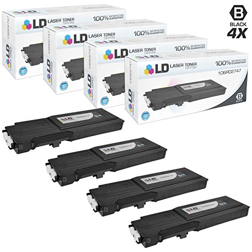 LD c Compatible Xerox 106R02747 セット of 4 ハイ Yield ブラック Laser Toner Cartridges for use in Xerox WorkCentre 6655 Printer (海外取寄せ品)