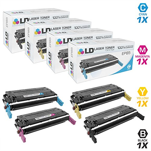 LD c Remanufactured Canon EP-85 セット of 4 Toner Cartridges: 1 6825A004AA ブラック, 1 6824A004AA シアン, 1 6823A004AA Magenta, and 1 6822A004AA イエロー for ImageClass Printer: C2500 (海外取寄せ品)