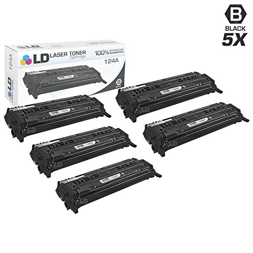 LD c Remanufactured リプレイスメント for Hewlett Packard 124A (Q6000A) パック of 5 ブラック Toner Cartridges for カラー LaserJet 1600, 2600n, 2605dn, 2605dtn, CM1015mfp and CM1017mfp (海外取寄せ品)