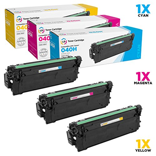 LD c Compatible キャノン Canon 040H セット of 3 ハイ-Yield カラー Toner Cartridges: 0459C001 シアン, 0457C001 Magenta & 0455C001 イエロー for use in ImageCLASS LBP712Cdn (海外取寄せ品)