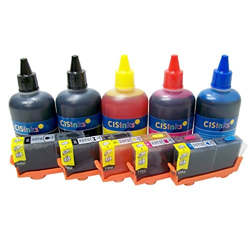 CISinks Refillable Ink Cartridge キット and Refill Ink セット for HP 564 Photosmart C309a C309g C410a C310a C510a C309n D5445 D5460 C6340 C6380 C6350 7520 7515 7510 7525 D7560 B8550 C6383 C6388 C6480 - HP564 5 カラー - approx. 800ml (海外取寄せ品)