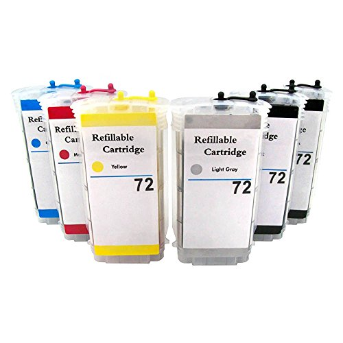 CISinks Refillable Cartridge セット for HP Printers - Designjet T610 T620 T770 T790 T1100 T1120 T1200 T1300 T2299 - HP72 HP 72 (海外取寄せ品)
