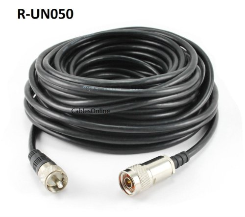 CablesOnline 50ft プレミアム Grade RG8x Coax UHF (PL259) Male to N-Type Male Antenna ケーブル (R-UN050) (海外取寄せ品)
