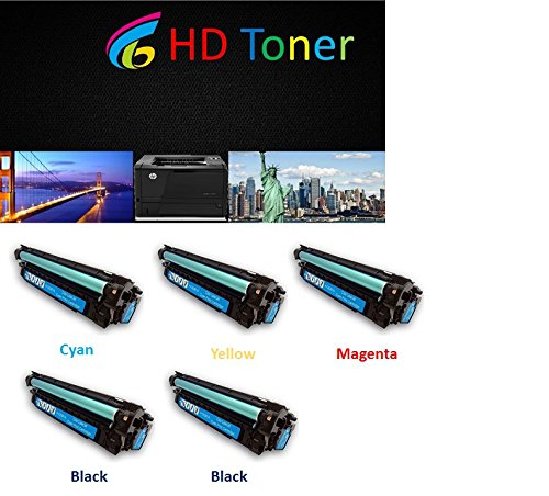 HP CE264X, CF031A, CF032A, CF033A Compatible Toner Cartridges for HP カラー LaserJet CM4540, CM4540f, CM4540fskm consists 2black シアン magenta イエロー by HD Toner (海外取寄せ品)