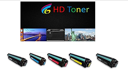 HD Toner 5-パック Toner Cartridge リプレイスメント for HP CE400A, CE401A, CE402A, CE403A (2BLACK シアン MAGENTA YELLOW)for HP カラー LaserJet Enterprise printer M551dn, M551n, M551xh (海外取寄せ品)