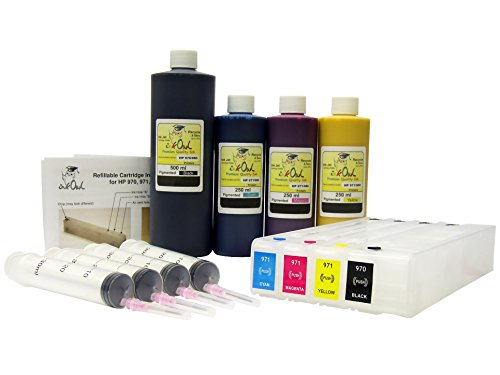 InkOwl - Refillable Cartridges for HP 970, 970XL, 971, 971XL with 500ml ブラック pigment ink, 3x250ml カラー pigment ink for X451dn, X451dw, X476dn, X476dw, X551dw, X576dw (海外取寄せ品)