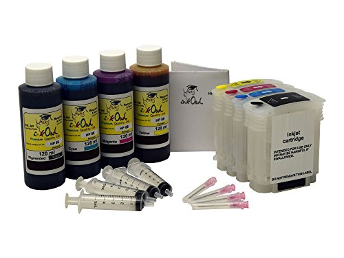 InkOwl - Refillable Cartridge セット for HP 88, 88XL + 4x120ml USA-メイド Ink + syringes (OfficeJet プロ K5300, K5400, K550, K8600, L7380, L7400, L7480, L7500, L7550, L7555, L7580, L7590, L7600, others) (海外取寄せ品)