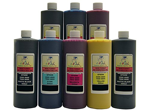 InkOwl - 8x500ml バルク Pigment Ink for use in EPSON Stylus プロ 4000, 7600, 9600 (includes マット Black) - メイド in the USA (海外取寄せ品)
