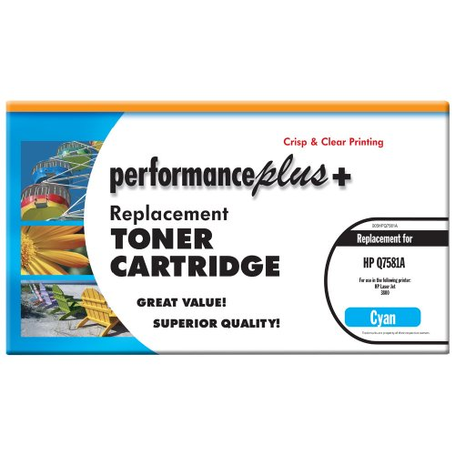 パフォーマンス Plus Remanufactured Q7581A シアン Laser Toner Cartridge, Qualtity, Clear, Crisp Printing (海外取寄せ品)