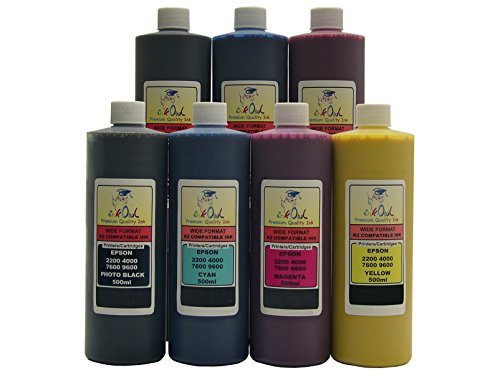 InkOwl - 7x500ml バルク Pigment Ink for use in EPSON Stylus プロ 7600, 9600 - メイド in the USA (海外取寄せ品)