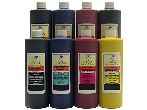 InkOwl - 8x500ml バルク Pigment Ink for use in EPSON Stylus プロ 4800, 7800, 9800 - メイド in the USA (海外取寄せ品)