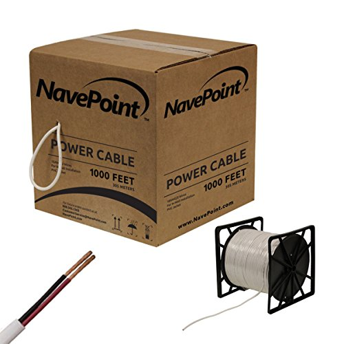 NavePoint 1000ft In ウォール Power ケーブル 18AWG 18/2 CCTV バルク Security Camera Power CCA ホワイト (海外取寄せ品)