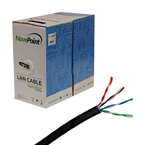 NavePoint CAT6 ケーブル CMR Riser UTP 23AWG 550MHz Network Ethernet 1000FT ブラック バルク (海外取寄せ品)