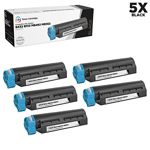 LD c Compatible Okidata 45807110 セット of 5 ブラック Laser Toner Cartridges for use in MB492, MB562w, B432dn & B512dn Printers (12,000 ページ Yield) (海外取寄せ品)