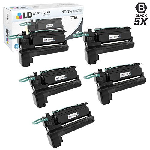 LD c Remanufactured Lexmark C792X1KG (C792 Series) エクストラ ハイ Yield パック of 5 ブラック Toner Cartridges for C792DE, C792DHE, C792DTE and C792E (海外取寄せ品)