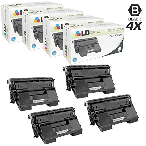 LD c Remanufactured リプレイスメント for Okidata 52123602 セット of 4 ブラック Laser Toner Cartridges for use in Okidata OKI B720dn, and B720n Printers (海外取寄せ品)