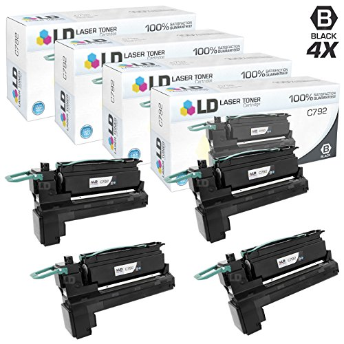 LD c Remanufactured Lexmark C792X1KG (C792 Series) エクストラ ハイ Yield パック of 4 ブラック Toner Cartridges for C792DE, C792DHE, C792DTE and C792E (海外取寄せ品)
