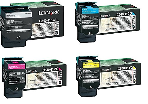 Lexmark Part# C540H1KG. C540H1CG. C540H1MG. C540H1YG Toner Cartridge セット (OEM) (海外取寄せ品)