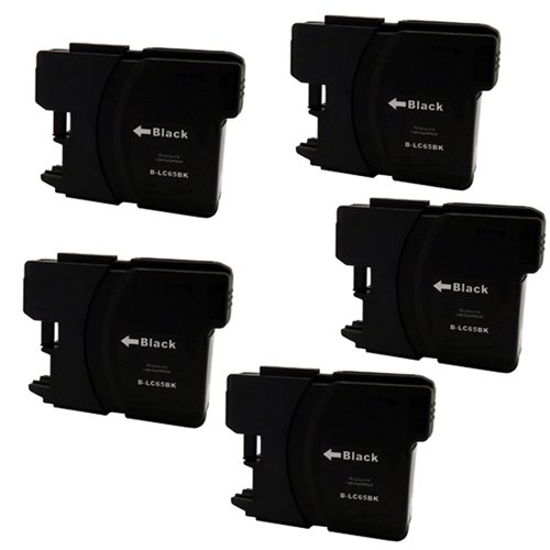 Amsahr LC65BKR Brother LC65/DCP-6690CW Remanufactured リプレイスメント Ink Cartridges 5-Pack, ブラック (海外取寄せ品)
