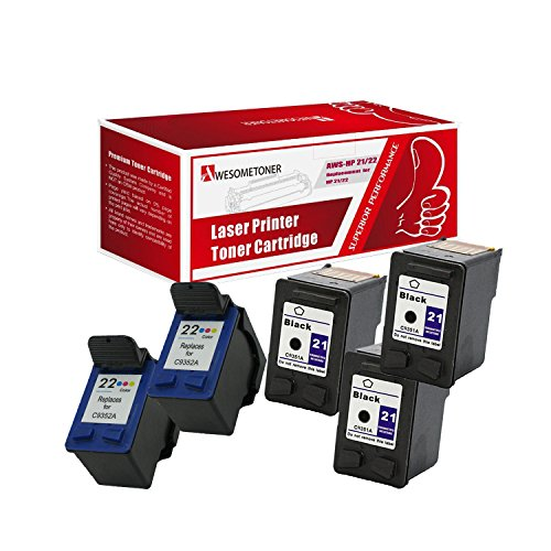 AwesomeToner 5 パック Compatible ink cartridge for HP 3 x C9351A XL (HP 21) + 2 x C9352A XL (HP 22) Deskjet 3930 series Deskjet 3940 series and PSC 1410 series ハイ Yield ブラック 150 カラー ページ (海外取寄せ品)