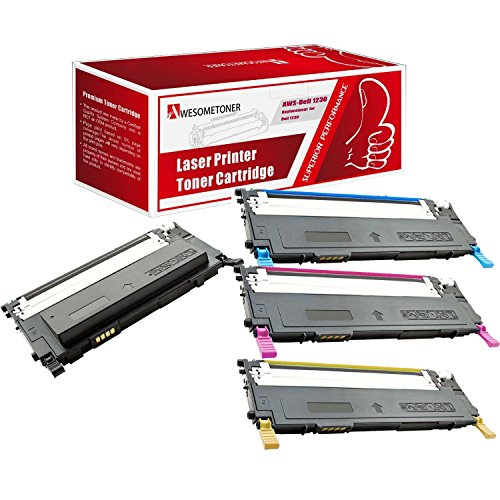 Awesometoner Compatible 4 パック N012K 330-3012 J069K 330-3015 J506K 330-3014 M127K 330-3013 Toner Cartridge For デル 1230, 1230C, 1235, 1235CN ハイ Yield BK 1500 C M Y 1000 ページ (海外取寄せ品)