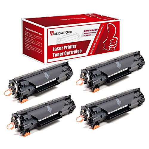 Awesometoner 4 パック Compatible CB436A Toner Cartridge For HP LaserJet P1505 P1505N M1522N?M1522N MFP?M1522NF M1522NF MFP ハイ Yield 3000 ページ (海外取寄せ品)