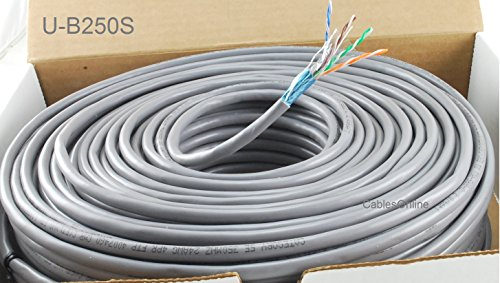 CablesOnline, 250ft Shielded CAT5e RJ45 350mhz STP ソリッド Ethernet バルク ケーブル Spool グレー, U-B250S (海外取寄せ品)