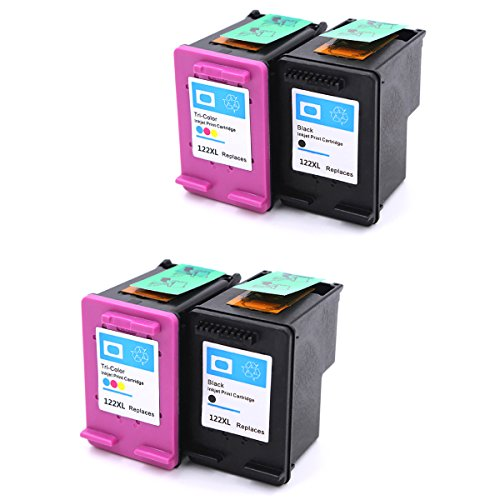 HOTCOLOR 4 パック for HP 122XL ブラック HP 122XL Tri-カラー Ink Cartridge 2BK+2C for HP Deskjet 1000 1050 2000 2050 2510 3000 3050 3052 3054 1010 1510 2540 Envy 4500 5530 Officejet 4845 (海外取寄せ品)