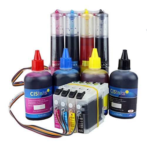 CISinks Continuous Ink サプライ System with Refill ボトル セット for Brother Printers (LC103 LC101) - DCP and MFC Series Printers (海外取寄せ品)