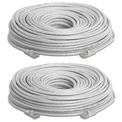 Cat5e Ethernet ケーブル ? 150 ft グレー - ゴールド プレート Contacts Male to Male パッチ コー??ド (2 Pack) (海外取寄せ品)