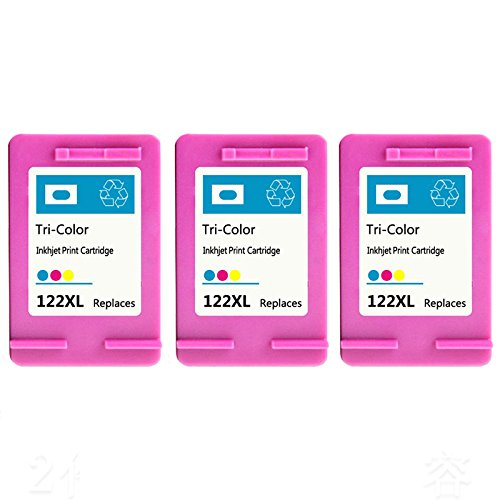 HOTCOLOR 3 パック for HP 122XL Tri-カラー Ink Cartridge 3C for HP Deskjet 1000 1050 2000 2050 2510 3000 3050 3052 3054 1010 1510 2540 Envy 4500 5530 Officejet 4845 (海外取寄せ品)