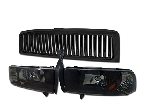 スモーク HEADLIGHTS CORNER SIGNAL AM 1PC+VERTICAL グリル GRILLE 1994-2002 DODGE RAM (海外取寄せ品)
