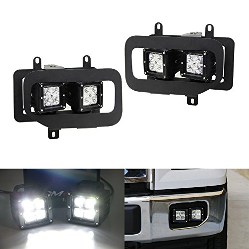 iJDMTOY Complete 80W ハイ Power CREE Cubic LED Fog Light キット w/ Fog ランプ Opening Mounting Brackets, ベゼル & On/オフ Switch Wiring For 2015-up Ford F-150 (海外取寄せ品)