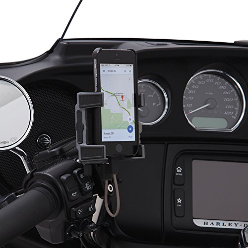 Ciro 50211 Smartphone/GPS Holder (Black Perch Mount With Charger For 1984-2016 Models (Excluding 2014-2016 ストリート Glide Models)) (海外取寄せ品)