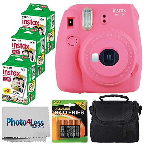 Fujifilm instax ミニ 9 Instant Film Camera (Flamingo Pink) - Fujifilm Instax ミニ ツイン パック Instant Film (60 Shots) + Compact Camera ケース + AA Batteries + クロス - International Version (No Warranty) 「汎用品」(海外取寄せ品)