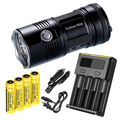 バンドル-7 Items: NiteCore TM06S 393 Yard 4000 Lumen Flashlight with 4 x 3400mAh 18650 Rechargeable Batteries, i4 Four Channel スマート Charger, Car Charger Adapter 「汎用品」(海外取寄せ品)