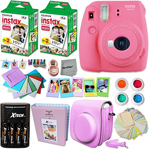 Fujifilm Instax ミニ 9 Instant Camera ピンク + INSTAX Film (40 Sheets) + Accessories キット / バンドル + Custom Fitted ケース + 4 AA Rechargeable Batteries & Charger + アソーテッド フレーム + Photo Album + MORE 「汎用品」(海外取寄せ品)