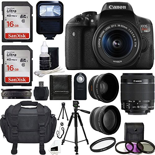 Canon EOS Rebel T6i SLR Camera 18-55mm f/3.5-5.6 レンズ Deluxe バンドル with 58mm 2x レンズ, ワイド Angle レンズ, Tripod, フラッシュ, UV キット and 32GB SanDisk Memory Card 「汎用品」(海外取寄せ品)
