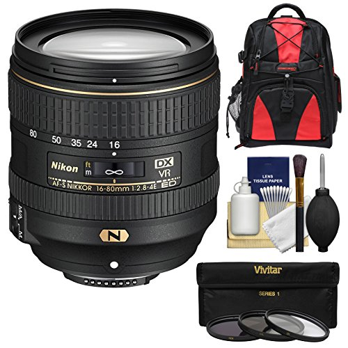 Nikon 16-80mm f/2.8-4E VR DX AF-S ED Zoom-Nikkor レンズ with 3 UV/CPL/ND8 フィルタ + バックパック + キット for D3200, D3300, D5300, D5500, D7100, D7200 Camera (海外取寄せ品)